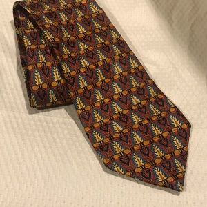 ERMENEGILDO ZEGNA Red Gold Art Deco Pattern Tie